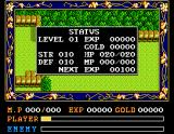 Ys II: Ancient Ys Vanished - The Final Chapter MSX Status screen