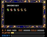 Ys II: Ancient Ys Vanished - The Final Chapter MSX Your inventory