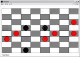 Checkers Windows 3.x The circles on the pieces indicated crowned (kinged) pieces.  I never claimed to be good at this game.
