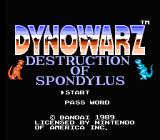 Dynowarz: Destruction of Spondylus NES Title screen