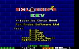 Solomon's Key Amstrad CPC The main menu