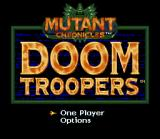 Doom Troopers: Mutant Chronicles SNES Title screen and main menu.