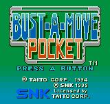 Bust-A-Move Neo Geo Pocket Color Title screen