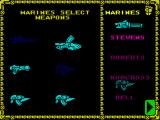 Space Crusade ZX Spectrum Weapons selection for Marines