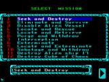 Space Crusade ZX Spectrum Mission selection