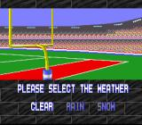 Tecmo Super Bowl SNES Weather select. This feature is absent in the Genesis version