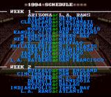 Tecmo Super Bowl II: Special Edition SNES Regular season schedule