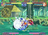 Kabuki Klash Neo Geo Kabuki makes some damage into Tsunade with his spherical-flashing move SenpuuDan.