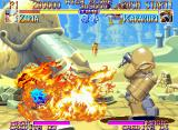 Kabuki Klash Neo Geo Now, the giant-iron-buddy Karakuri uses his most powerful move in Ziria: the flamethrower.
