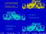 Chequered Flag ZX Spectrum Car selection