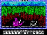 The Legend of Kage ZX Spectrum Loading screen