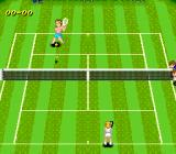 Super Tennis SNES Two girls are playing on a lawn