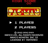 Pac-Man: Special Color Edition Game Boy Color Pac-Man title screen / main menu.