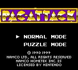 Pac-Man: Special Color Edition Game Boy Color Pac-Attack title screen / main menu.