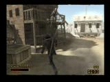 Red Dead Revolver PlayStation 2 An enemy takes the fall.