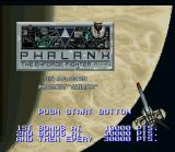 Phalanx SNES Title screen.