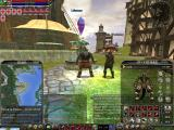 Asheron's Call 2: Fallen Kings Windows A PvP-enabled human stands at the lifestone next to a non-PvP Lugian.  The Map and Inventory windows are also displayed.