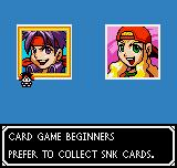 SNK vs. Capcom: Card Fighters' Clash - SNK Cardfighter's Version Neo Geo Pocket Color Selecting a card fighter.