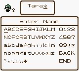 Dragon Warrior Monsters 2: Tara's Adventure  Game Boy Color Naming Screen