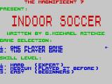 Indoor Soccer ZX Spectrum Main menu