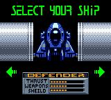 Space Invaders Game Boy Color Choosing the battle ship.