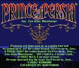 Prince of Persia SNES Title screen.