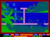 Super Seymour Saves the Planet ZX Spectrum Falling away from the remaining blocks