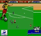 FIFA 98: Road to World Cup Game Boy Streaking past some defenders.