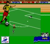 FIFA: Road to World Cup 98 Game Boy Goalie clears the ball.