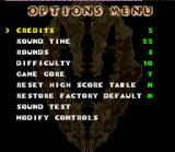 Primal Rage SNES Options screen.