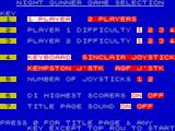 Night Gunner ZX Spectrum Main menu