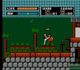 The Karate Kid NES Beating up bad guys against the backdrop of the approaching storm