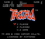 Trojan NES English title screen