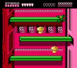 Battletoads NES Rat Race, level 10 is a long drop down another tube, all the while being pursued by a homicidal rodent whom you will confront at the bottom