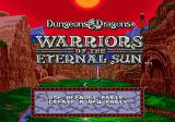 Dungeons & Dragons: Warriors of the Eternal Sun Genesis Title screen with main menu
