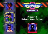 Micro Machines: Military Genesis Player Selection Screen