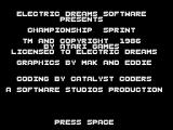 Championship Sprint ZX Spectrum Credits, if you can call them that
