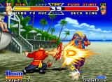 Real Bout Fatal Fury Special Neo Geo Going to the upper background plane, Duck King was able to escape from Tung Fu Rue's Power Wave.