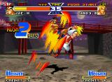 Real Bout Fatal Fury Special Neo Geo Andy going to heights with the super impact of Joe Higashi's Tiger Knee: do it close to mark 2 hits!