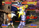 Real Bout Fatal Fury Special Neo Geo Demonstration mode: Andy goes to heights again, but now thanks to Sokaku's Higi Kaminari Otoshi.