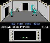 Infiltrator II NES Inside a building at the enemy base.