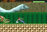 Strider Genesis Casually stroll past a dinosaur.