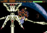 Strider Genesis Taking on the boss against a moon backdrop.