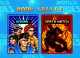 World Heroes Neo Geo Choose a game mode: NORMAL (the standard one) or DEATHMATCH (fights in arenas with dangerous traps).