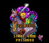 The Pagemaster SNES Title screen / Main menu.