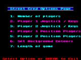 Street Cred Football ZX Spectrum Options page