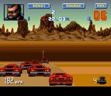 Lamborghini: American Challenge SNES Demonstration mode: in Denver, some local drivers had formed a barrier to disturb Joe's way.