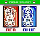 Pokémon Pinball Game Boy Color Choosing the play board.