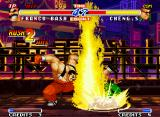 Real Bout Fatal Fury 2: The Newcomers Neo Geo Bash connects a successfull 2-hit combo after stomp Cheng Sinzan in the air with his Power Stomp.