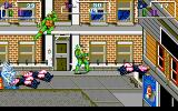 Teenage Mutant Ninja Turtles DOS Stage 2: Raphael and Leonardo kick some Foot Clan butt in the streets.